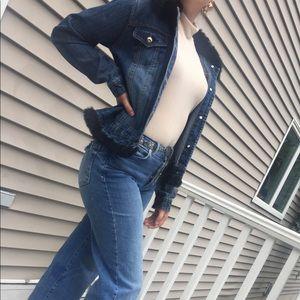 ROUTE 66 faux fur fringe denim jacket